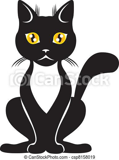 Chat Noir Gracieux Yeux Noir Chat Jaune