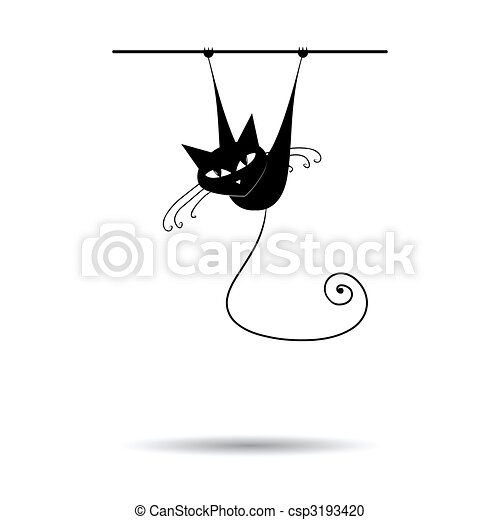 chat, noir, ton, conception, silhouette - csp3193420