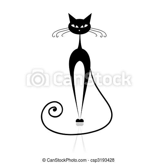 chat, noir, ton, conception, silhouette - csp3193428