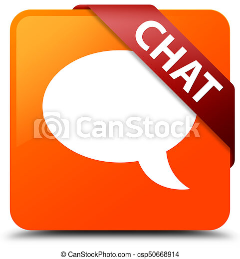 Chat orange square button red ribbon in corner - csp50668914