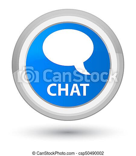 Chat prime cyan blue round button - csp50490002