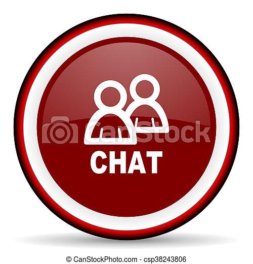 chat round glossy icon, modern design web element - csp38243806