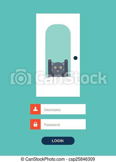 chat, vecteur, porte, behid - csp25846309