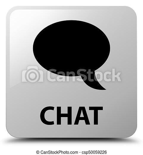 Chat white square button - csp50059226