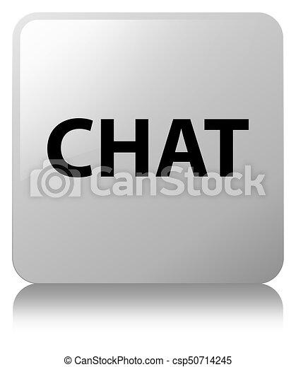Chat white square button - csp50714245