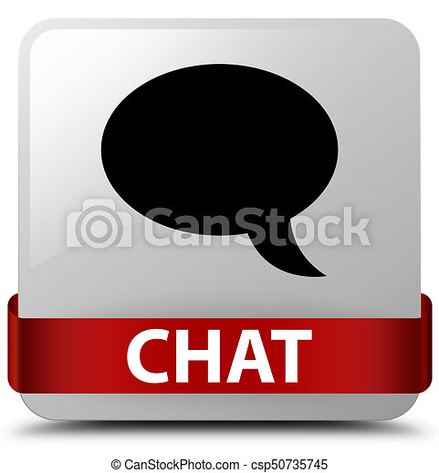 Chat white square button red ribbon in middle - csp50735745