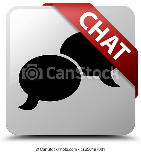 Chat white square button red ribbon in corner - csp50497081