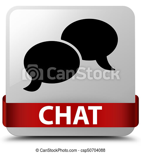 Chat white square button red ribbon in middle - csp50704088