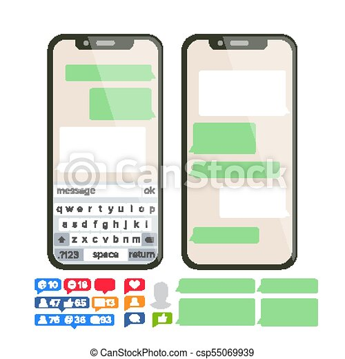 Chatbot Text Message Vector  Chat Bot Bubble Set Template  Modern Mobile  Application Messenger Interface  Smartphone With Chat On Screen  Empty Text