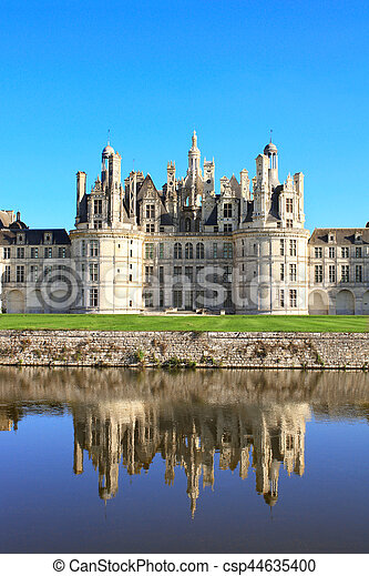 Chateau Chambord castle with reflection, Loire Valley, France - csp44635400