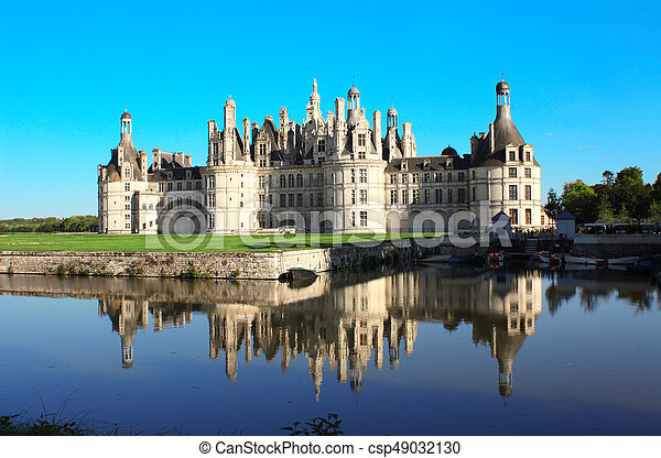 Chateau Chambord castle with reflection, Loire Valley, France - csp49032130