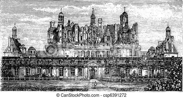 Chateau de Chambord, Loire Valley, France vintage engraving - csp6391272