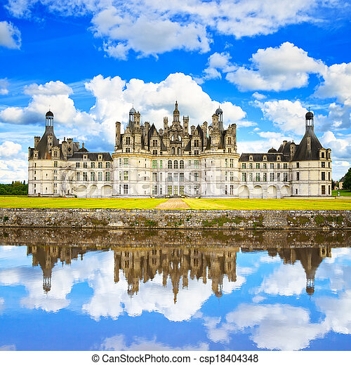Chateau de Chambord, royal medieval french castle and reflection. Loire Valley, France, Europe. Unesco heritage site. - csp18404348