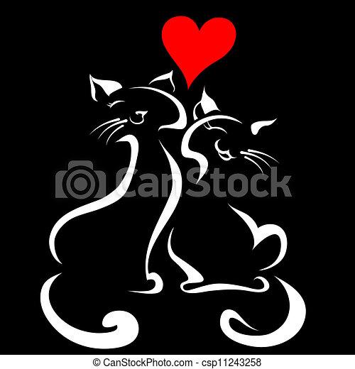 chats, amour, heureux - csp11243258