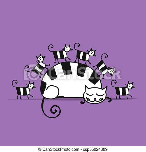 chats, croquis, famille, conception, ton - csp55024389