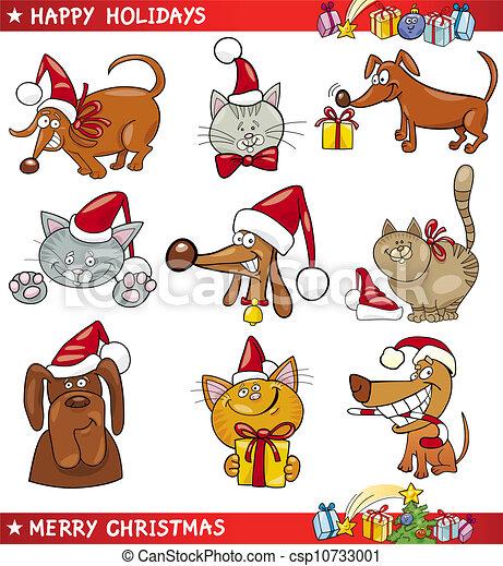 chats, dessin animé, ensemble, chiens, noël - csp10733001