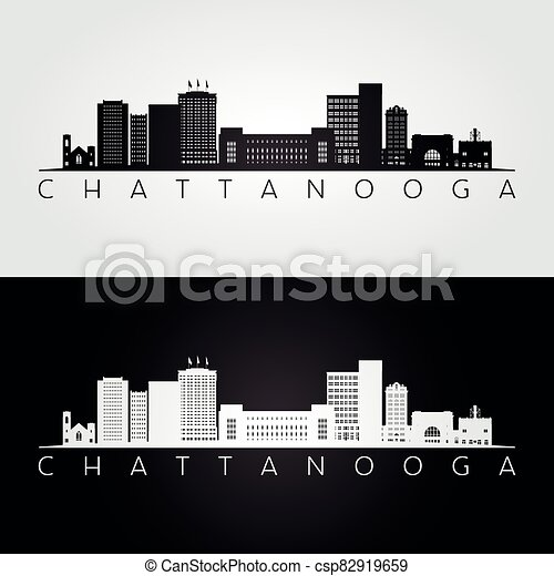 Chattanooga, Tennessee skyline and landmarks silhouette - csp82919659