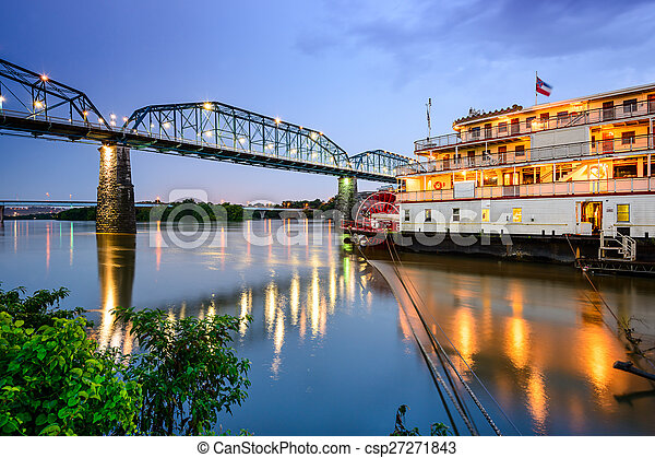 Chattanooga, Tennessee, USA riverfront. - csp27271843