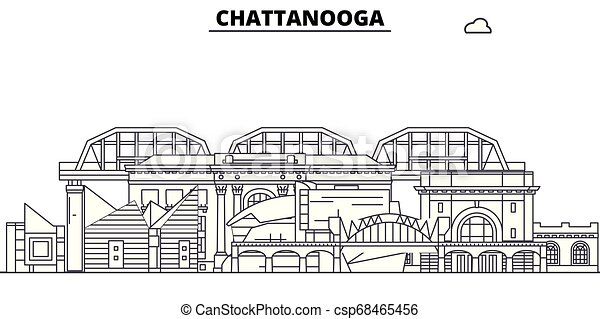 Chattanooga , United States, outline travel skyline vector illustration. - csp68465456