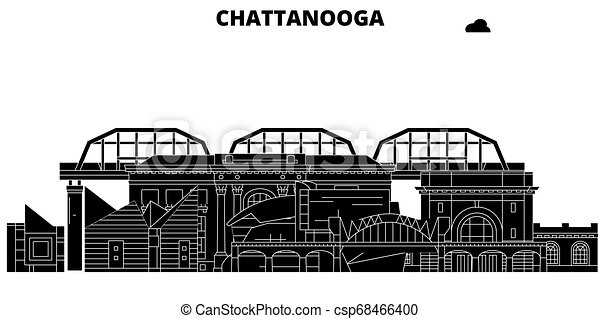 Chattanooga, United States, vector skyline, travel illustration, landmarks, sights. - csp68466400