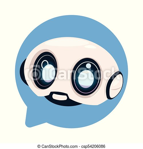 Chatter Bot Cute Robot Icon In Speech Bubble Icon Concept Of Chatbot Or Chat Bot Technology - csp54206086