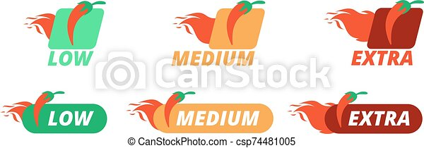 chaud, chilli, labels., levels., menu, pepperiness, vecteur, poivres, poivre, bas, restaurant, voyante, symboles, supplémentaire, ensemble - csp74481005