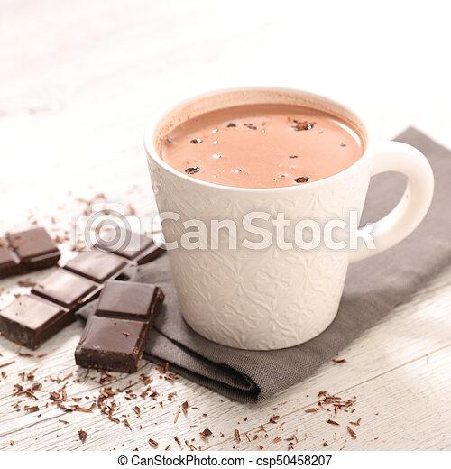 chaud, grande tasse, chocolat - csp50458207