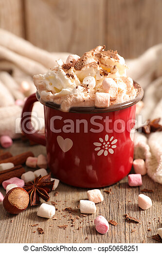 chaud, guimauve, chocolat - csp50658251