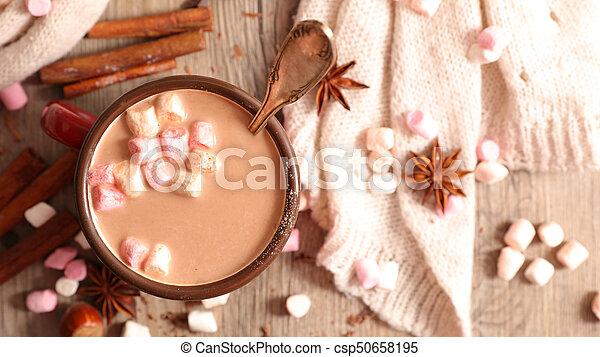 chaud, guimauve, chocolat - csp50658195