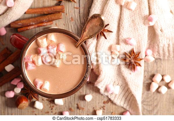 chaud, guimauve, chocolat - csp51783333