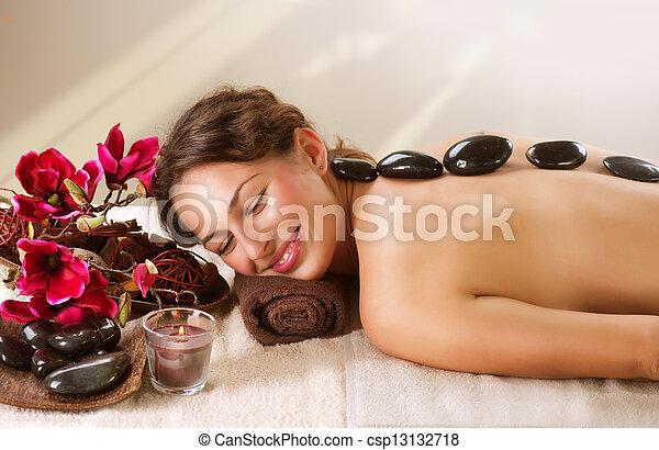 chaud, spa., pierre, dayspa, massage. - csp13132718