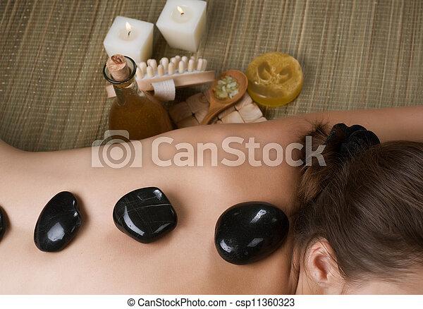 chaud, spa., pierre, masage - csp11360323