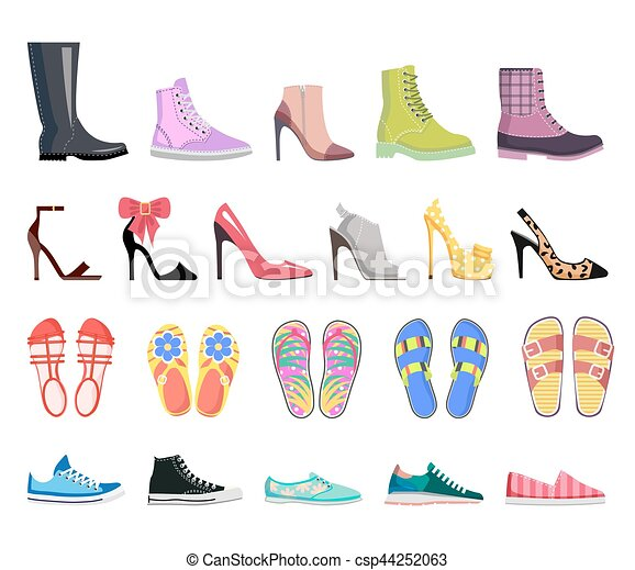 chaussures, moderne, collection, chaussures, femme, types.