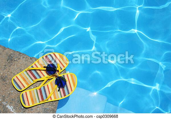 chaussures, piscine - csp0309668