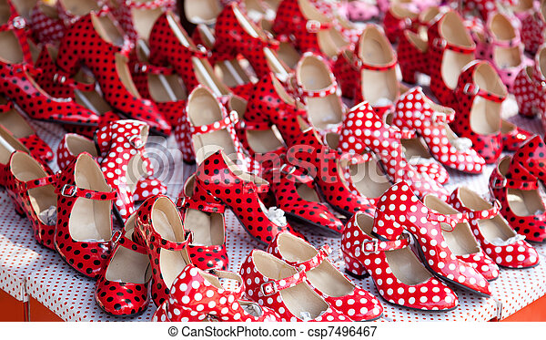 chaussures, polka, taches, gitan, rouges, point - csp7496467