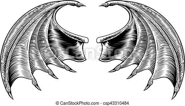 Chauve Souris Dragon Ou Ailes Chauve Souris Woodcut Vendange Horreur Démon Vampire Dragon Style Conception Canstock
