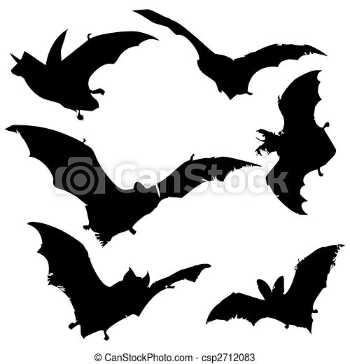 Chauve souris silhouettes collection - Modele dessin chauve souris ...
