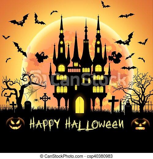 Chauves Souris Tombe Halloween Illustration