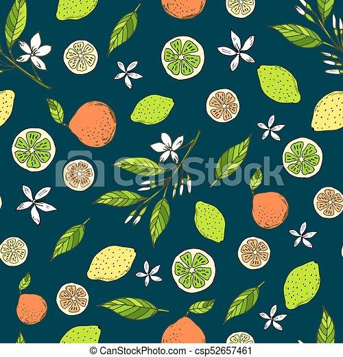 chaux, citrus, modèle, seamless, jaune, citrons, amer, oranges - csp52657461