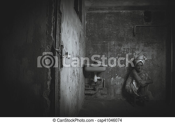 A Girl Sits On Chair In An Old Apartment Black And White Photography