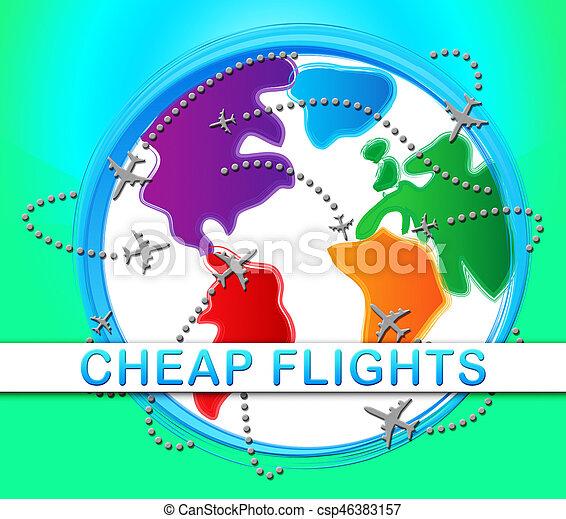 Cheap Flights Represents Low Cost Promo 3d Illustration - csp46383157