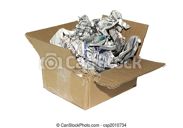 Cheap variation of package for fragile item. Cardboard box with newspapers isolated on white background. - csp2010734