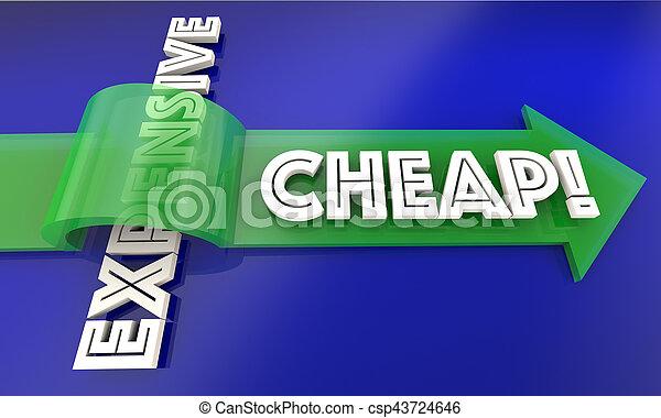 Cheap Vs Expensive Arrow Save Money 3d Illustration - csp43724646