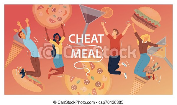 Cheat Meal Concept. Multiracial Happy People, Are Jumping Of Happy Among Junk Food. Cocktails, Pizza, Ice cream, Hamburger, Hot Dog. People Eat Fast Food. Cartoon Flat Style. Vector Illustration - csp78428385