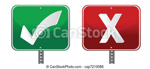 check and x mark signs illustration - csp7210086