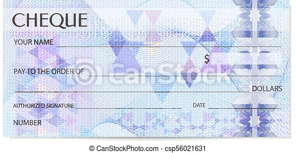 Check (cheque), chequebook template. guilloche pattern with abstract ...