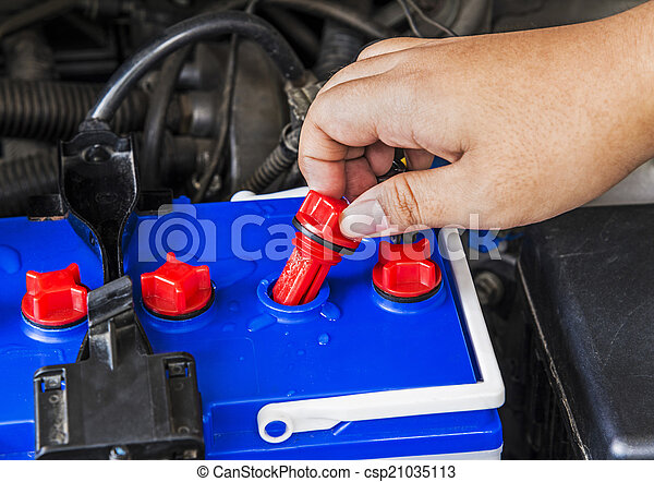 Check Distilled Water Level In Battery Of A Car Stock Photography