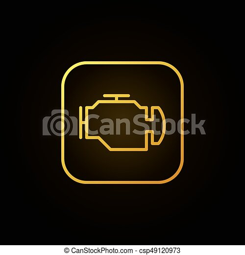 Check Engine Yellow Icon Vector Car Diagnostic Concept Sign Or