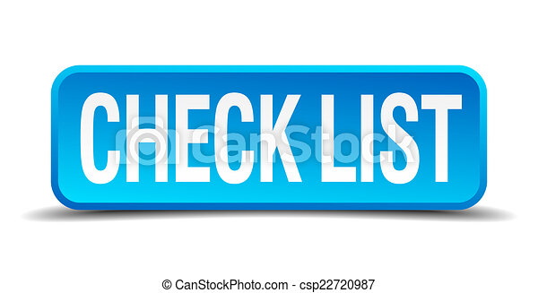 check list blue 3d realistic square isolated button - csp22720987