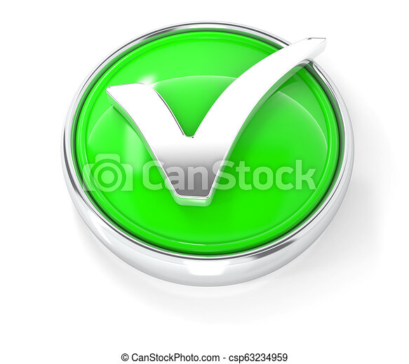 Check mark icon on glossy green round button - csp63234959